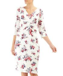 Melanie white & red floral dress