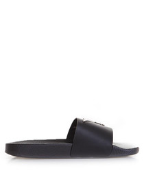 Black leather initial sliders