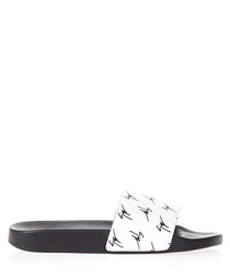 Men's White & black leather sliders