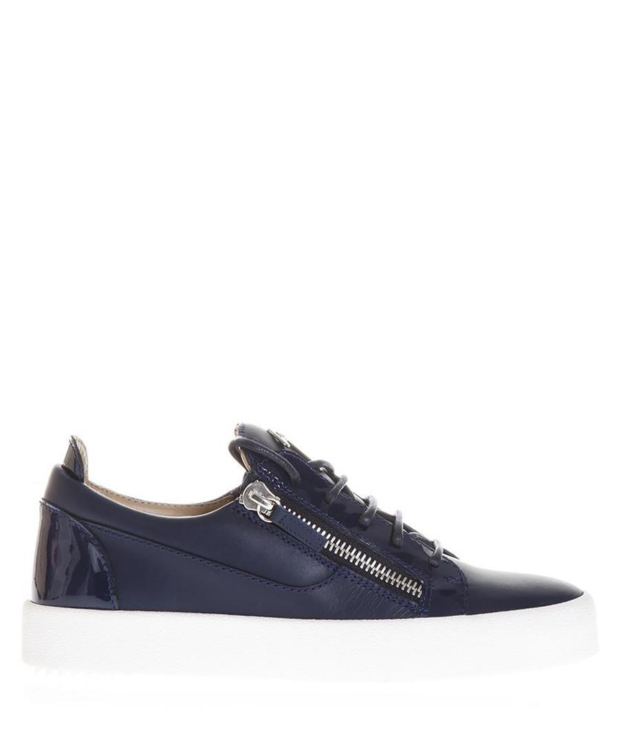 Navy blue leather flatform sneakers Sale - giuseppe zanotti