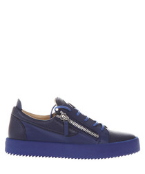 Blue leather zipped sneakers