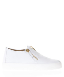 White & gold-tone leather slip-ons