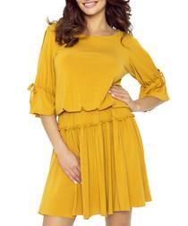 Yellow gathered split sleeve dress