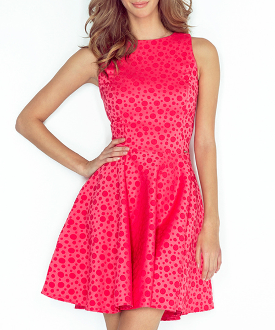 Pink polka dot sleeveless skater dress Sale - numoco