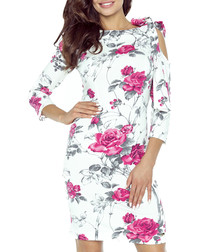 Pink & white floral cold-shoulder dress