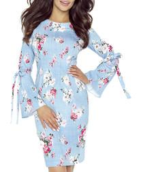 Blue & pink floral print fluted dress