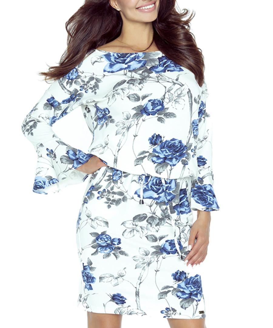 Ecru & blue floral print ruffle dress Sale - bergamo