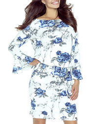 Ecru & blue floral print ruffle dress