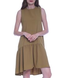 Mustard drop waist sleeveless dress