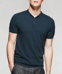 Dark teal cotton blend polo shirt