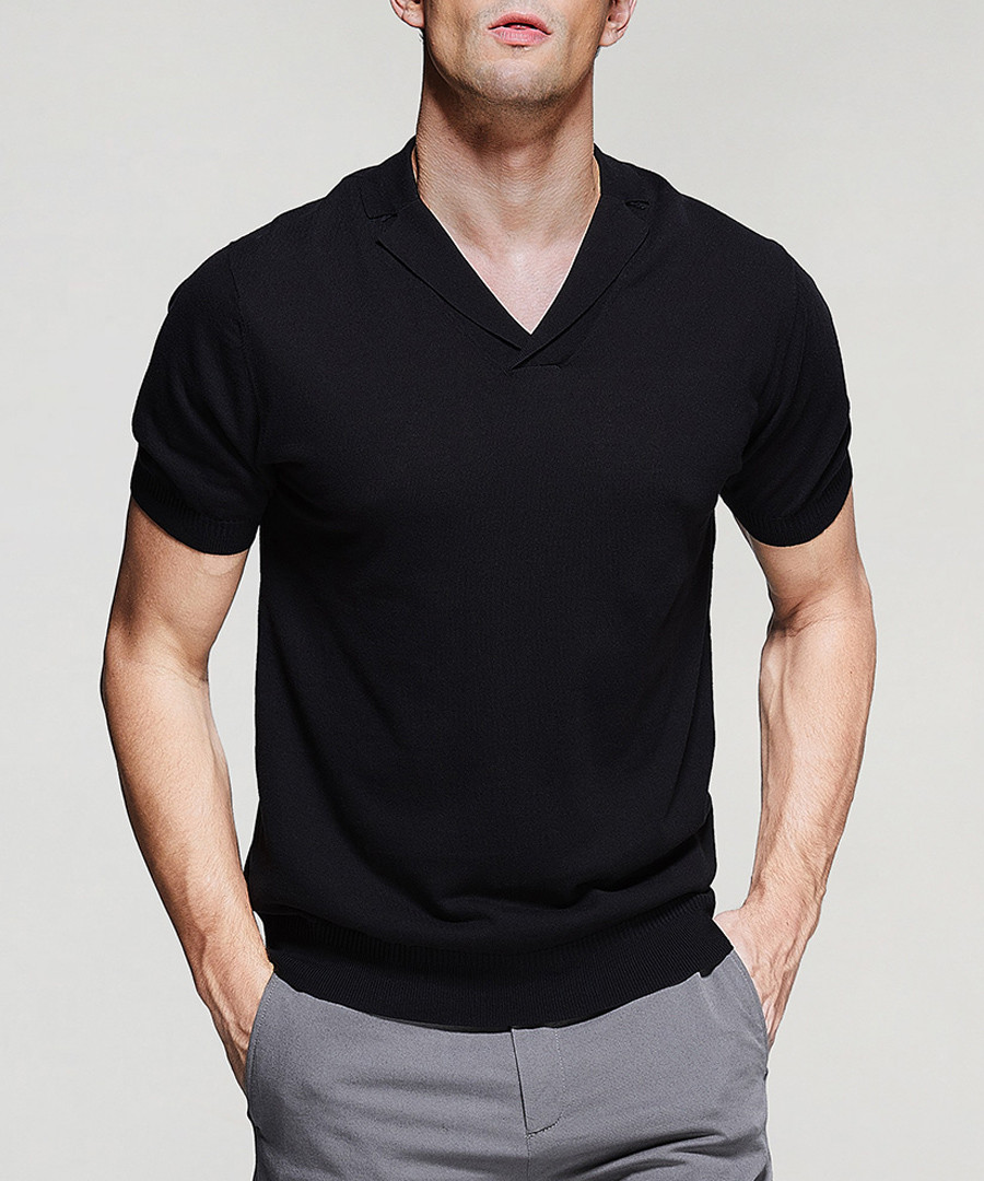 Black pure cotton V-neck T-shirt Sale - kuegou