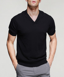 Black pure cotton V-neck T-shirt
