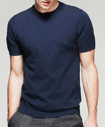 Navy cotton blend rib detail T-shirt