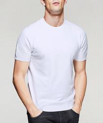 White cotton blend rib detail T-shirt