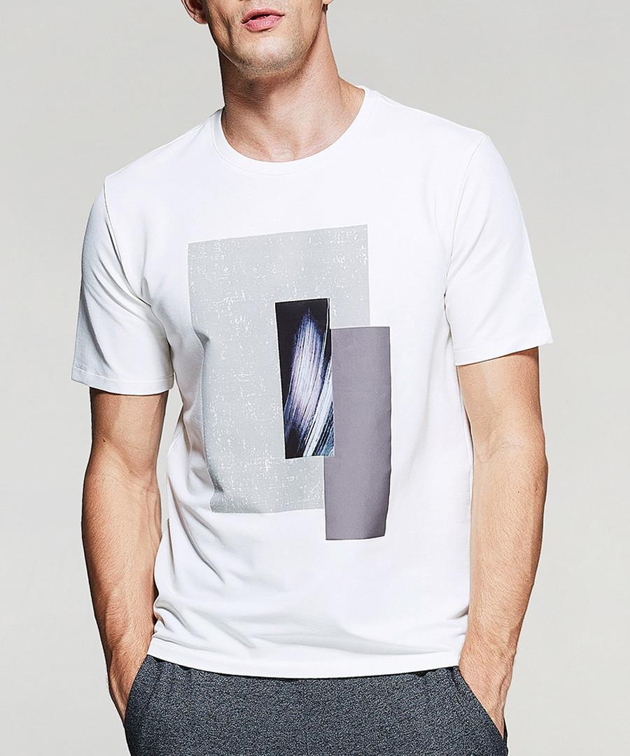 White cotton blend box motif T-shirt Sale - kuegou