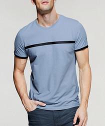 Blue cotton blend stripe T-shirt