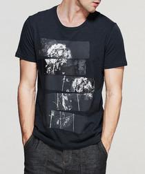Black pure cotton dandelion T-shirt