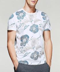 White pure cotton floral print T-shirt