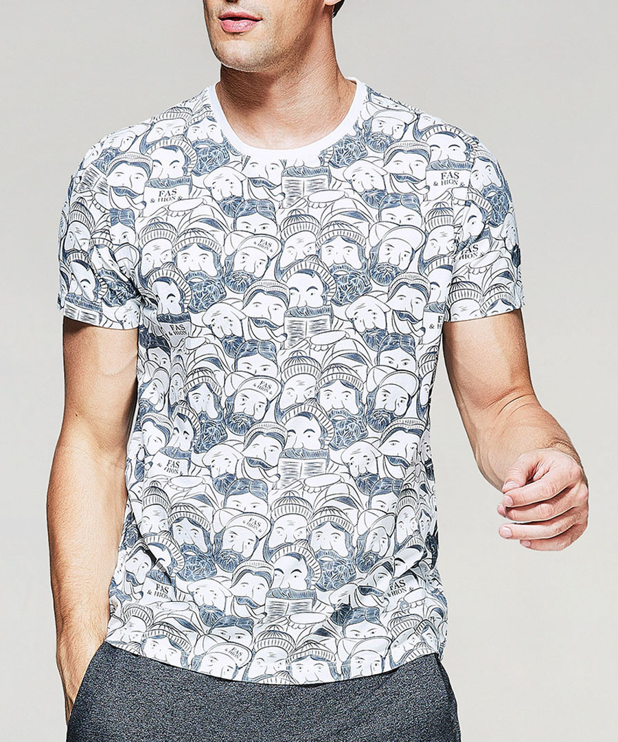 Grey pure cotton faces T-shirt Sale - kuegou