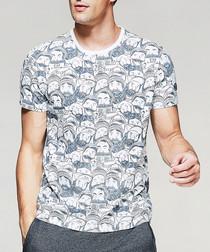 Grey pure cotton faces T-shirt