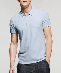 Pewter cotton blend polo shirt