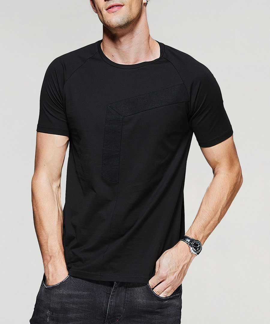 Black pure cotton panel T-shirt Sale - kuegou
