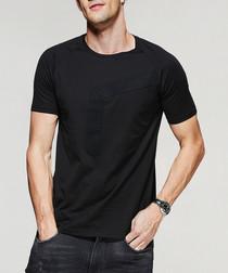 Black pure cotton panel T-shirt