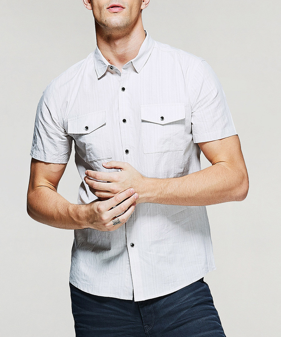 Grey pure cotton pocket shirt Sale - kuegou