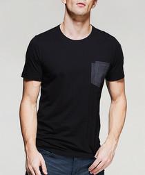Black cotton blend pocket T-shirt
