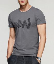Grey cotton blend abstract T-shirt