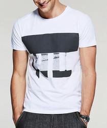 White & grey pure cotton T-shirt