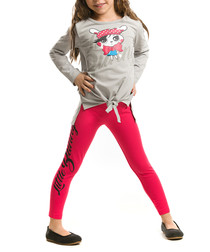 2pc Girl's Bunny grey & red cotton set