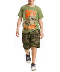 2pc Boy's Road cotton blend top & shorts set