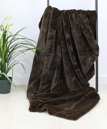 Empress chocolate faux fur throw 140cm