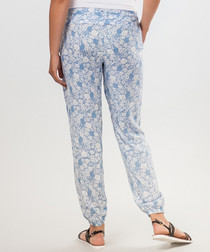 Light blue pure cotton printed trousers