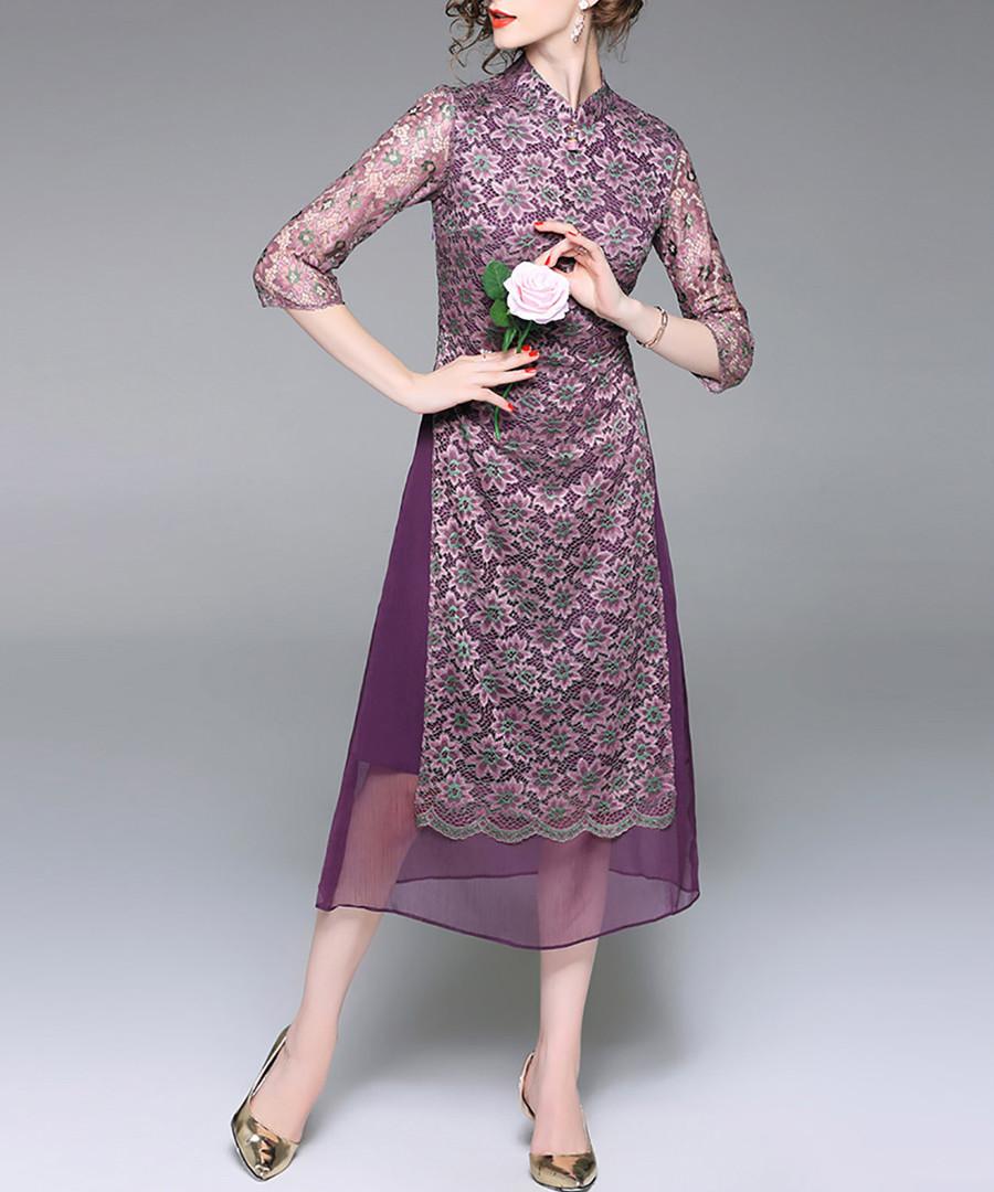 Purple printed sheer sleeve dress Sale - alaroo