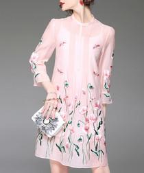 Pink floral sheer sleeve dress