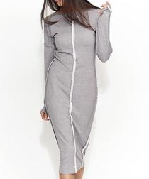Grey cotton blend hem detail dress