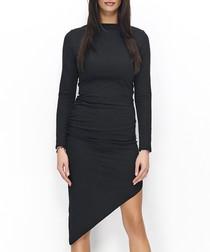 Black cotton blend asymmetric dress