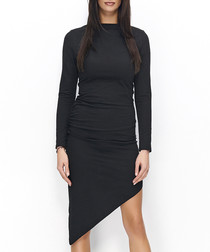 Black cotton blend asymmetric hem dress