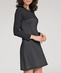 Black & graphite cotton blend dress
