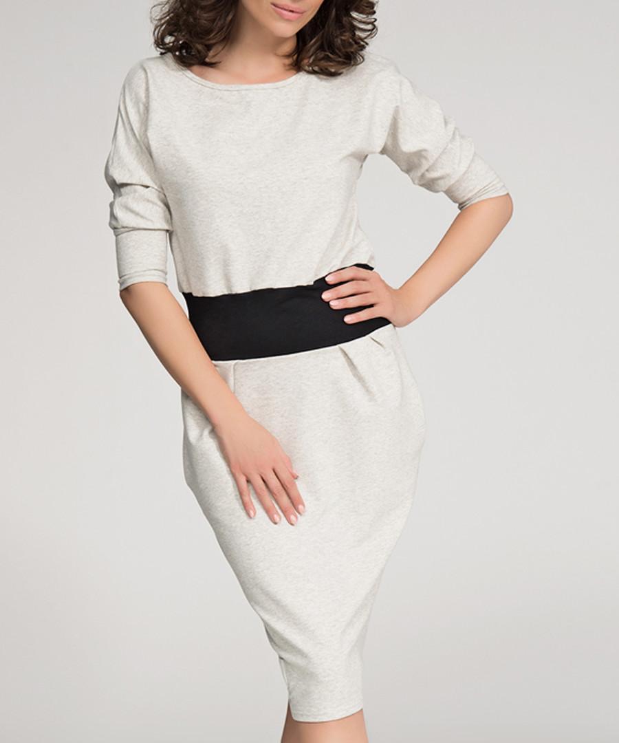 Beige & black cotton blend dress Sale - numinou
