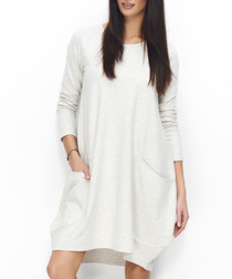 Beige cotton blend pocket detail dress