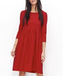 Red cotton blend dress