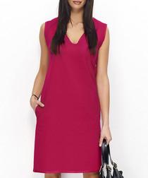 Fuchsia cotton blend sleeveless dress