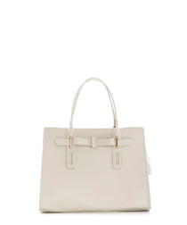 Beige leather bow detail grab bag