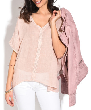 c4f43c3612e Pink pure linen V-neck blouse Sale - William De Faye Sale