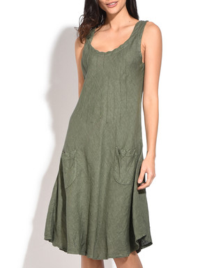 814742f978 Khaki pure linen pleated dress Sale - William de Faye Sale