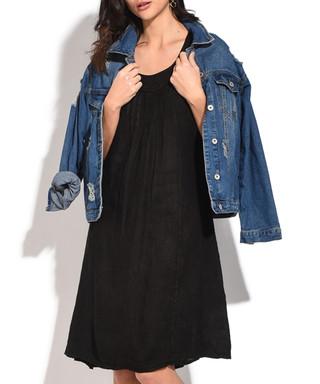 970e9327e7 Black pure linen round-neck dress Sale - William de Faye Sale