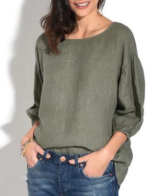 47551911a7 Khaki pure linen button-back blouse Sale - William de Faye Sale